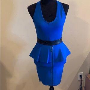Blue with black  bodycon dress